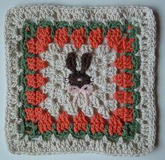 Bunny & carrot granny dishcloth