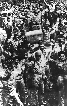 W.W. II, 4/9/42, American and Filipino troops surrendering at Bataan, Luzon, Philippines