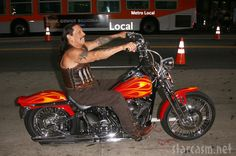 Danny Trejo arrives at the Machete premiere on a motorcycle