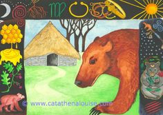 Earth Bear Healing ~ Watercolor on paper  © Cat Athena Louise For more information on my art & process, please visit : http://www.catathenalouise.com