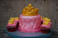 Pink Quilted Princess cake with Tiara topper