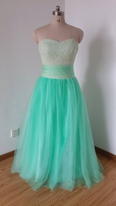 Hey, I found this really awesome Etsy listing at https://www.etsy.com/listing/221656643/2015-sweetheart-mint-tulle-beaded-long