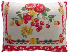 Cherries + Nasturtiums Vintage Towel Pillow