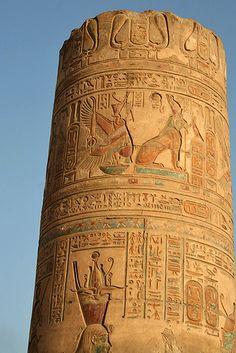 Colored Column    Sobek Temple in Kom Ombo