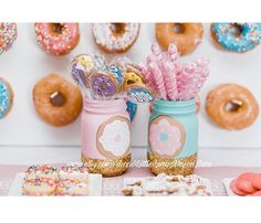 All items are made to order **Current turn around time to make the item(s) is 8-10 days and then 2-3 days for shipping. If you need your item(s) sooner than this please message me. ** Pink and teal donut jars! You get to choose the quantity of jars. The perfect centerpiece for