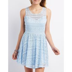 Charlotte Russe Lace Sleeveless Skater Dress ($30) ❤ liked on Polyvore featuring dresses, blue, blue sleeveless dress, skater dress, see through dress, floral dress and floral skater dress