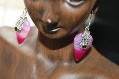 SALE...  Triangle Natural Pink   Agate with real garnet stones  dangling in sterling silver  earrings -Very Beautiful  and elegant by 911VintageAddiction on Etsy