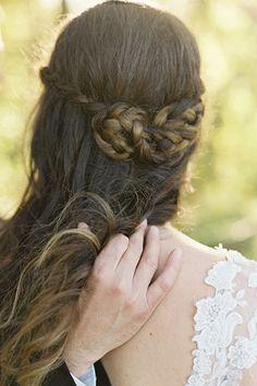 wedding hair...Miniature braid buns play up this bride's natural, rustic setting: