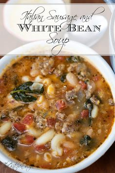 Keep warm during these winter months with this delicious, hearty, and flavorful Italian Sausage and White Bean Soup Recipe! Keep warm during these winter months with this delicious, hearty, and flavorful Italian Sausage and White Bean Soup Recipe! Italian Sausage Soup, Italian Seasoning, Italian Bean Soup, Tuscan Bean Soup, Ground Italian Sausage Recipes, Recipes With Turkey Sausage, Ground Sausage, Ground Beef, Masterchef