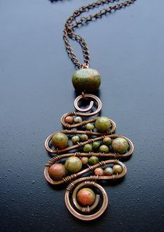 wire and bead christmas wreath jewelry | beads wire jewelry copper wire wire work wire wraps wire pendants wire ...