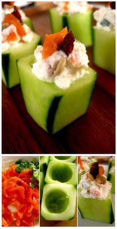 Well i like the idea of stuffing cucumbers anyhow...Cucumber stuffed with smoked salmon and goat cheese