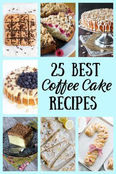 25 Best Coffee Cake Recipes from RecipesForHolidays.com #best #coffee #cake #coffeecake #recipes #RecipesForHolidays Raspberry Coffee Cakes, Banana Coffee Cakes, Easy Cake Recipes, Dessert Recipes, Brunch Recipes, Drink Recipes, Delicious Recipes, Breakfast Recipes, Best Coffee Cake Recipe