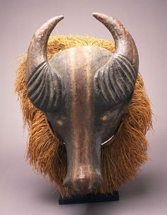 Africa | Mask from the Holo people of DR Congo | Wood, raffia and natural pigments | Early 20th century