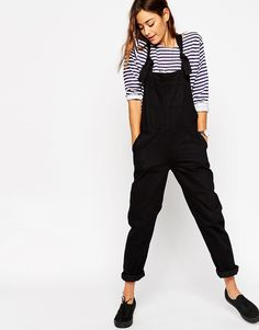 Image 4 of ASOS Denim Dungaree With Tie Straps in Black