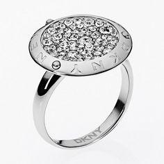 DKNY Silver diamante disc ring- at Debenhams.com