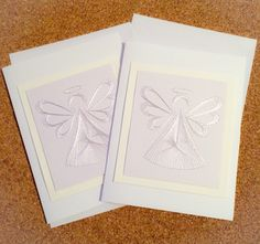 The white on white angel cards have been a huge hit! These two are just finished and being delivered today!  www.fb.com/sewcutecards  http://sewcute.storenvy.com
