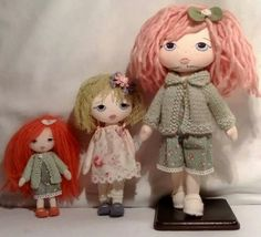 A 50%, a75% and a full size little lady from a gingermelon pattern