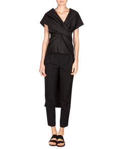 Honan Frances Wrap Top & Wool Poplin Patton Pants by THE ROW at Neiman Marcus.