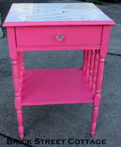 Look at the sheet music on the top of this little table painted in American Paint Company's Momma's Lipstick! From Brick Street Cottage in Ohio.