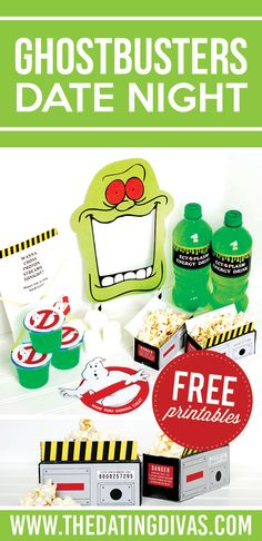 Fun ideas for a Ghostbusters Party OR Date Night. Free printables included! From The Dating Divas.