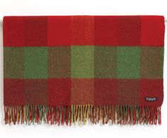 Foxford Lambswool 4 Block Check Throw. A pure lambswool throw with architectural block design and rolled fringe.