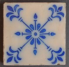 Portuguese Flow Blue Tile, ca. 1900.