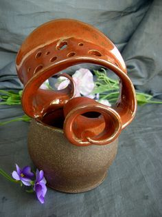 Ceramic Wild Flower Vase in Rust and Black Mountain by Sally Anne Stahl @ www.clayshapergallery.com
