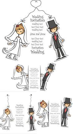 Cartoon wedding invitation with bride-groom vector