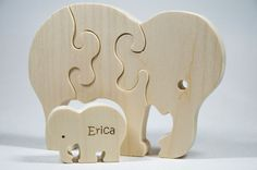 Wooden Puzzle Elephant with baby Gift for by littlewoodenwonders