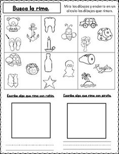 Rimas: Hojas de trabajo para Kindergarten by Bilingual Teacher World Bilingual Centers, Bilingual Kindergarten, Bilingual Education, Abc Centers, Learning Centers, Literacy Centers, Addition Worksheets, Worksheets For Kids, First Grade Activities