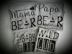 Family shirts,mama bear,papa bear,little baby cub,wild cub sold as set of shirts.