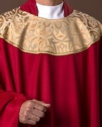 The Holy Rood Guild > Chasubles & Copes > Canterbury Red Chasuble: red liturgical vestment for priest or deacon Canterbury, Priest, Custom Items, Damask, Knitting, Red, Women, Fashion, Moda