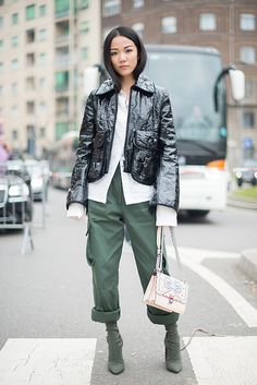 Yoyo Cao poses after the Fendi show during Milan Fashion Week Fall/Winter 2017/18 on February 23 2017 in Milan Italy