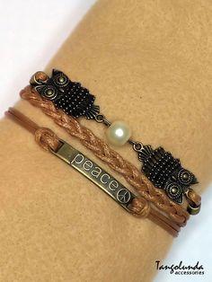 Peace Owls Bracelet Multi Wrap Brass Ivory by Tangolunda Gifts $8.50