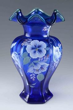 *FENTON ART GLASS ~ hexagonal cobalt blue vase with spruce green edge and hand painted morning glories decoration. Hand painted, artist signature to side designed by Robin Spindler.