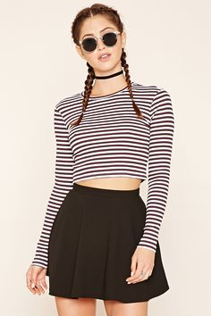 Buy White, Black Crop top for woman at best price. Compare Tops prices from online stores like Forever 21 - Wossel United States Black Crop Top Outfit, Crop Top Outfits, Striped Crop Top, Black Crop Tops, Pretty Outfits, Cute Outfits, Pretty Clothes, Cut Off Shirt, Belly Shirts