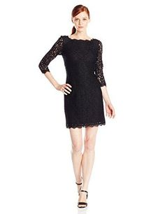 Adrianna Papell Womens Petite 34 Sleeve Lace Dress Black 4 Petite -- You can get additional details at the image link.