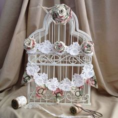 shabby chic wedding card holder | Wedding Bird Cage Card Holder Shabby Chic Bird by NotJustSigns, $49.99