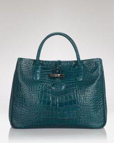 Rousseau Croc Tote # Pinterest++ for iPad # Luxury Purses, Luxury Handbags, Designer Handbags, Longchamp, Crocs, Purses And Bags, Satchel, Shoe Bag, Blue