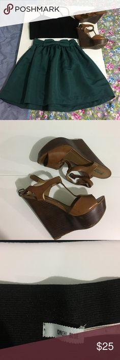 "Shop this set✅ skirt/top/shoes Skirt- ""kimchi blue' size (s) $15, Crop top-forever 21 (L) $7. Steve madden wedge sandals (8.5) $12. All together $25 Other"