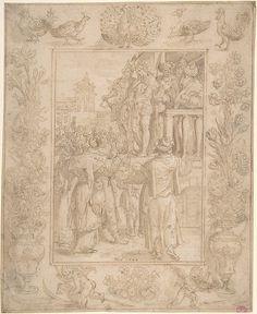 Maerten de Vos, 1532-1603, Flemish (formerly also attributed to Hans Bol, 1534-1593, Netherlandish), Ecce Homo, 1584.  Pen and brown ink, brown and gray wash. Framing lines in pen and brown ink: 7.3 x 5.6 cm (sheet).  Metropolitan Museum of Art, New York.  Northern Mannerism.