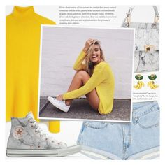 """""""♠ Banana!"""" by paty ❤ liked on Polyvore featuring Mulberry, Dolce&Gabbana, Balenciaga, Converse, yellow, shorts, Banana and marble"""