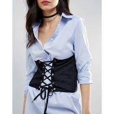 ASOS Denim Corset Belt (€23) ❤ liked on Polyvore featuring accessories, belts, blue, stretch belt, asos belts, asos, blue belt and blue stretch belt