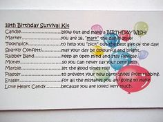 18th Birthday Girl Survival Kit Novelty Fun by Honeybeeblessings