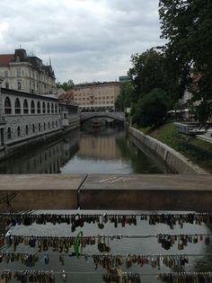 Butcher's bridge in Ljubljana complete with lovers' locks