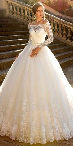 Fantastic Tulle Off-the-shoulder Neckline Ball Gown Wedding Dress With Lace Appliques & Belt NEW! Fantastic Tulle Off-the-shoulder Neckline Ball Gown Wedding Dress With Lace Appliques & Belt Long Wedding Dresses, Long Sleeve Wedding, Wedding Dress Sleeves, Wedding Dress Styles, Bridal Dresses, Wedding Gowns, Lace Dress, Tulle Wedding, Bridesmaid Dresses