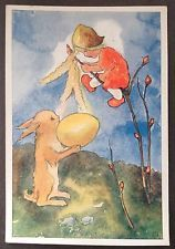 MILI WEBER~SWITZERLAND PC. YOUNG GIRL WITH RABBIT AND EGG