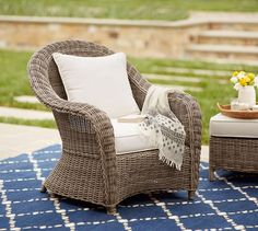 Torrey All-Weather Wicker Roll Arm Occasional Chair - Natural | Pottery Barn $699 includes cushions
