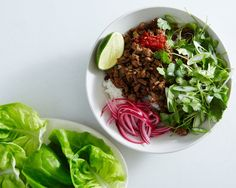Can We Have This Ground Chicken Larb for Dinner Every Night? - This larb is crunchy, salty, spicy, and everything we want to eat tonight. Rotisserie Chicken, Thai Chicken, Chicken Wraps, Chicken Salad, Chicken Pasta, Easy Chicken Recipes, Asian Recipes, Ethnic Recipes, Gourmet