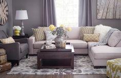 farbideen wohnzimmer grau gelb farbkombination